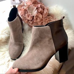 Lands End Brown Suede & Leather Chunky Heel Bootie